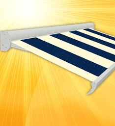 Afbeelding van een terrasscherm met blauw en witte banen